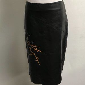 new bcbg leather embroidered straight skirt 4.